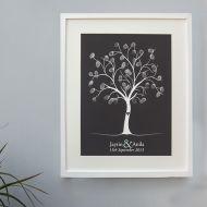 Wedding Finger Print Tree - Silver Metallic Ink
