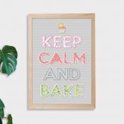 Keep Calm and Bake Wall Art Print - Not Framed