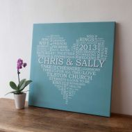 Wedding Word Heart Canvas