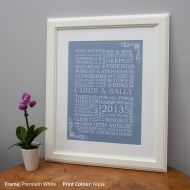 Personalised Word Art Wedding Print - Unframed